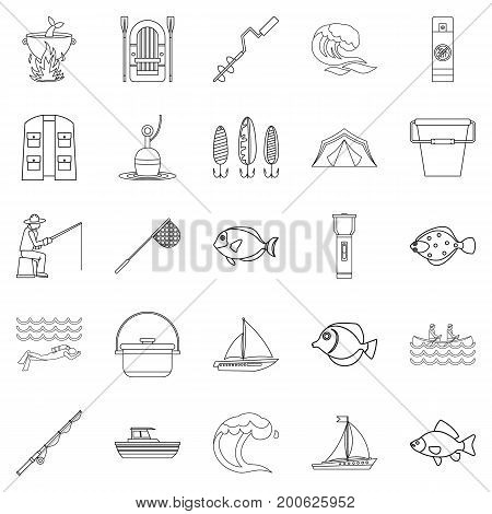 Sea inhabitant icons set. Outline set of 25 sea inhabitant vector icons for web isolated on white background
