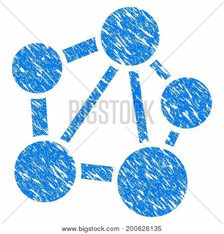 Grunge Network rubber seal stamp watermark. Icon symbol with grunge design and scratched texture. Unclean vector blue sign.