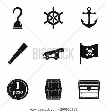 Pirates attributes icon set. Simple set of 9 pirates attributes vector icons for web isolated on white background