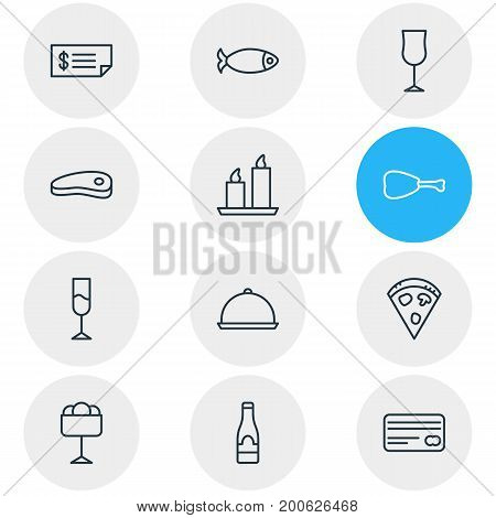 Editable Pack Of Seafood, Tray, Bacon And Other Elements.  Vector Illustration Of 12 Restaurant Icons.