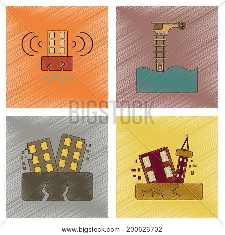 assembly flat shading style icon of earthquake and flood