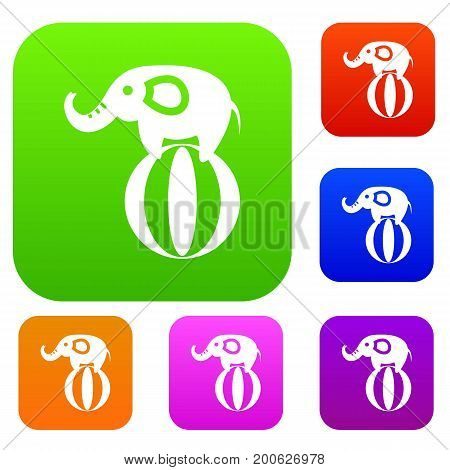 Elephant balancing on a ball set icon in different colors isolated vector illustration. Premium collection
