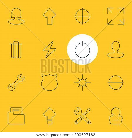 Editable Pack Of Garbage, Wide Monitor, Positive And Other Elements.  Vector Illustration Of 16 UI Icons.