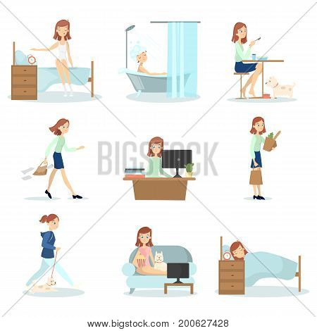 Woman daily routine. Daily life of young beautiful woman as waking up, working and relaxing.