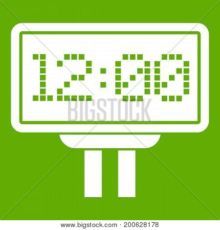 Scoreboard icon white isolated on green background. Vector illustration