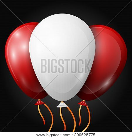 Realistic white, red balloons with ribbons isolated on black background. Vector illustration of shiny colorful glossy balloons