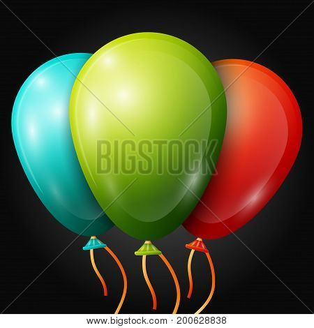 Realistic turquoise, green, red balloons with ribbons isolated on black background. Vector illustration of shiny colorful glossy balloons