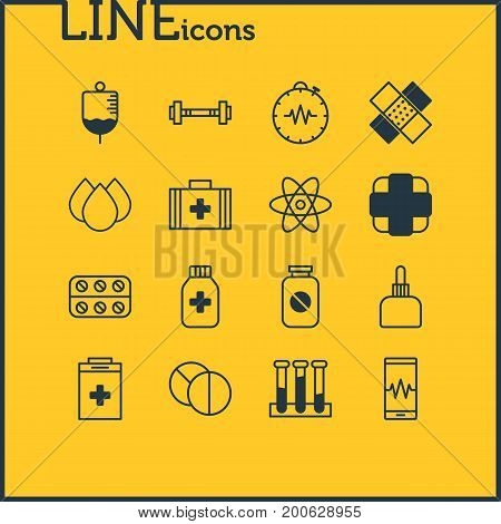 Editable Pack Of Pills, Phone Monitor, Patch And Other Elements.  Vector Illustration Of 16 Health Icons.