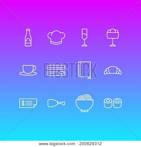 Editable Pack Of Hat, Tea, Alcohol And Other Elements.  Vector Illustration Of 12 Cafe Icons.