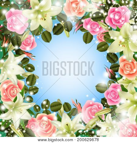 Illustration of greeting or invitation card template with lily and rose flowers