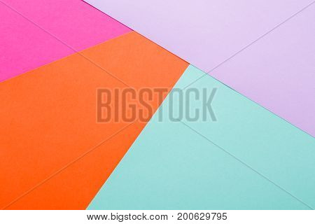 Minimalistic background. Abstract geometric textured multicolored backdrop. Flat lay composition, top view, copy space