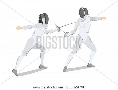 Isolated fencing athlete on white background. Athlete in white outfit with mask and sword.