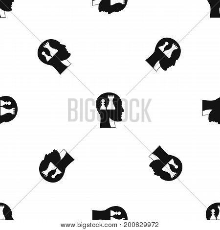 Head with queen and pawn chess pattern repeat seamless in black color for any design. Vector geometric illustration