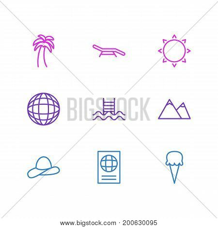 Editable Pack Of Swimming, Sorbet, Earth And Other Elements.  Vector Illustration Of 9 Summer Icons.