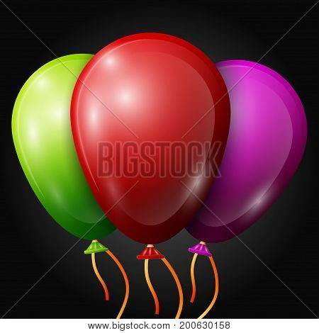 Realistic red, green, purple balloons with ribbons isolated on black background. Vector illustration of shiny colorful glossy balloons