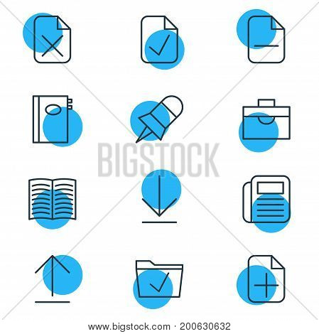 Editable Pack Of Remove, Done, Book And Other Elements.  Vector Illustration Of 12 Workplace Icons.