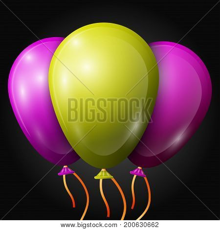 Realistic purple, yellow-green, balloons with ribbons isolated on black background. Vector illustration of shiny colorful glossy balloons