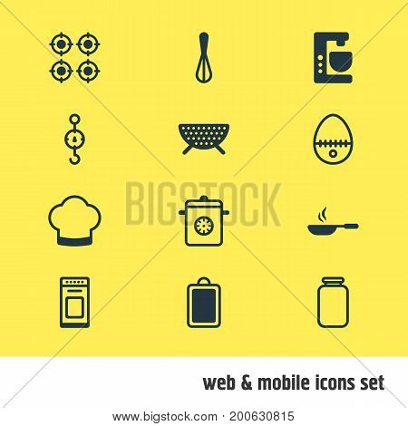 Editable Pack Of Chef Hat, Steelyard, Oven And Other Elements.  Vector Illustration Of 12 Cooking Icons.