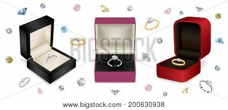 Illustration of gift jewelry boxes with diamond rings and colorful diamond background