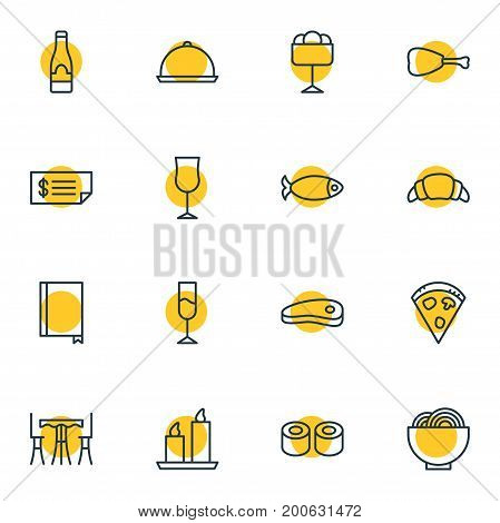 Editable Pack Of Bacon, Dessert, Table And Other Elements.  Vector Illustration Of 16 Eating Icons.