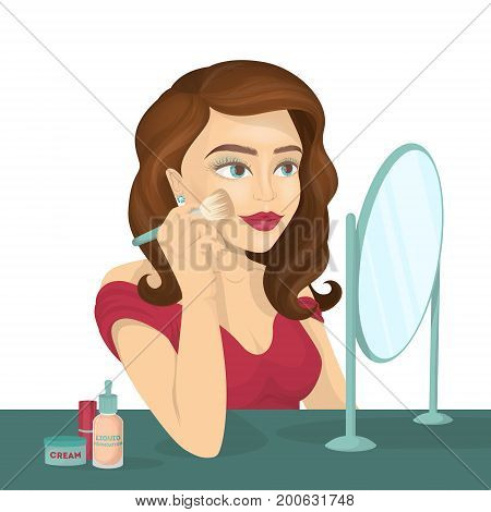 Woman does make-up infront of mirror. Beautiful young woman with red lips.