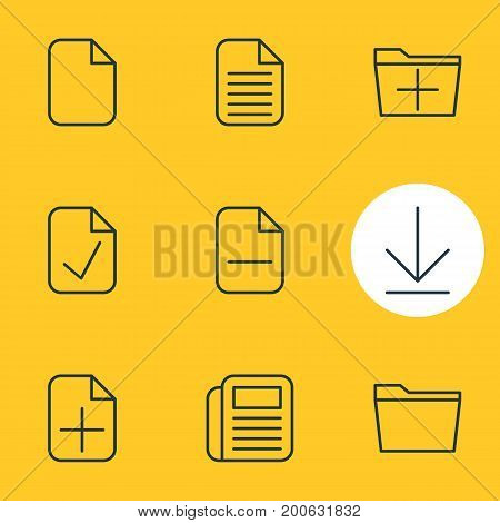 Editable Pack Of Plus, Document, Blank And Other Elements.  Vector Illustration Of 9 Office Icons.