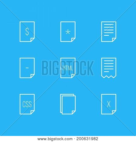 Editable Pack Of Document, Remove, Folder And Other Elements.  Vector Illustration Of 9 Document Icons.