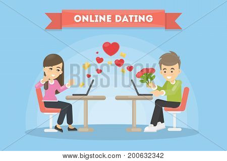 Online dating concept. Man and woman with laptops. Giving rose.