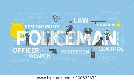 Policeman concept illustration. Law and order, officer and control.