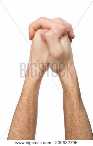 Male linked his hands gest isolated on white background