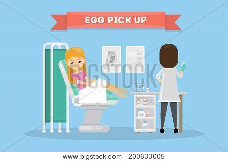 In vitro fertilization. Egg pick up. Woman in lab with scientist.