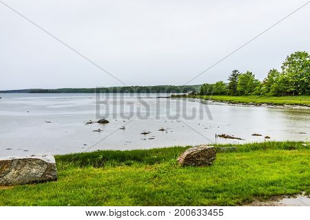 Maine Empty Harbor During Rainy, Cloudy Weather With Seagulls Standing In Shallow Water