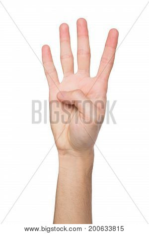 Hand shows number four isolated. Counting gesturing, enumeration, white background.
