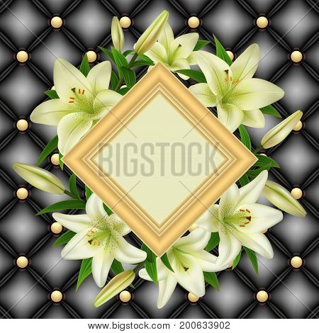 Illustration of greeting or invitation card template with frame white lily flowers and upholstery background