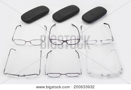Six frames for dioptrical glasses plastic or metal or rimless