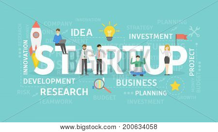 Startup concept illustration. Research and business, development and ideas.