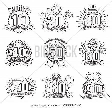 Anniversary stickers style line art set. Anniversary stencils in the style of line art for designers and illustrators. collection of birthday templates style in the form of vector illustrations