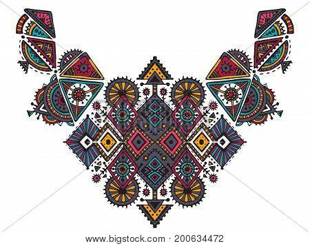 Tribal art boho hand drawn geometric pattern. Beautiful colorful vector ethnic print for fabric, cloth design, t-shirts.