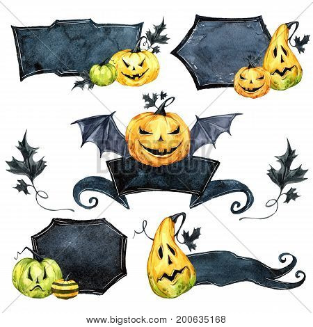 Watercolor border set, pumpkins with leaves. Halloween holiday illustration. Funny food. Magic, symbol of horror. Baby background. Can be use in holidays design, posters, invitations, cards