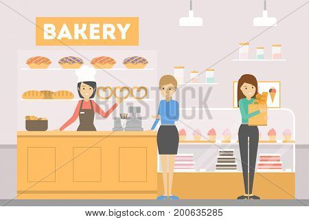 People at Bakery. Buying new fresh pastry with drinks. Cupcakes and cakes.
