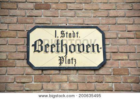 Beethoven Platz Plate In Vienna