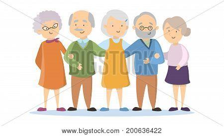 Old senior people set on white background. Happy smiling people.