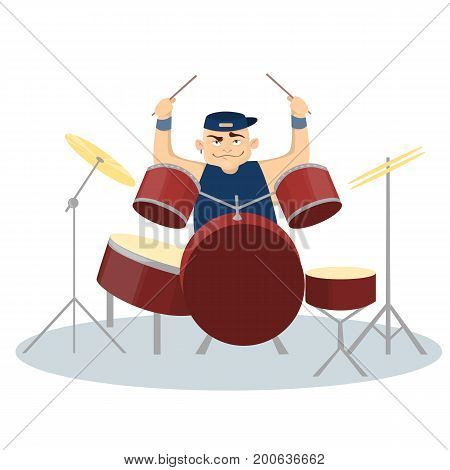 Man plays rock with drums on white background.