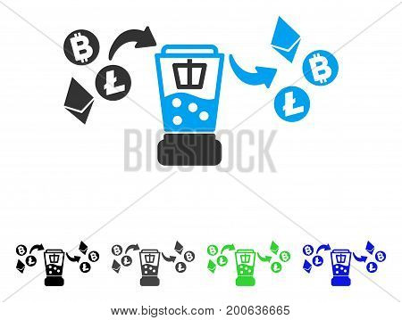 Cryptocurrency Mixer flat vector pictogram. Colored cryptocurrency mixer, gray, black, blue, green icon versions. Flat icon style for application design.