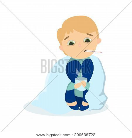 Isolted sick boy sitting with coat and hot drink in mug with thermometer on white background.