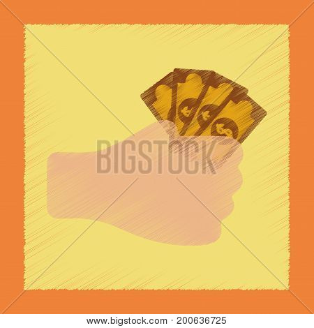 flat shading style icon poker money in hand