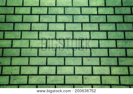 Green color brick pavement textured background or wallpaper.