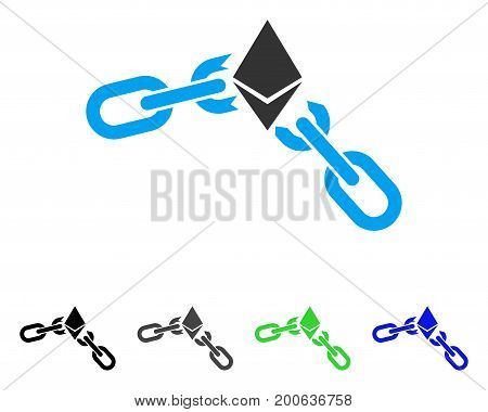 Ethereum Broken Chain flat vector pictograph. Colored ethereum broken chain, gray, black, blue, green pictogram versions. Flat icon style for application design.