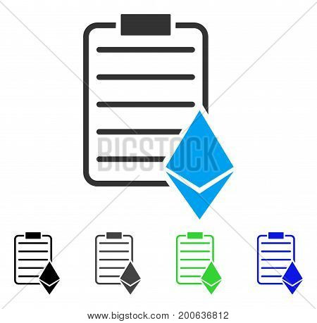 Ethereum Contract flat vector illustration. Colored ethereum contract, gray, black, blue, green pictogram versions. Flat icon style for web design.