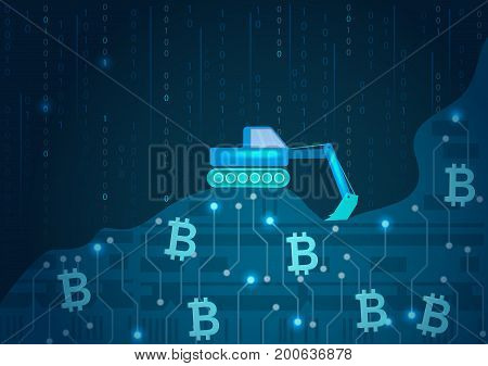 Bitcoin mining.Concept of digital currency. Vector illustration.